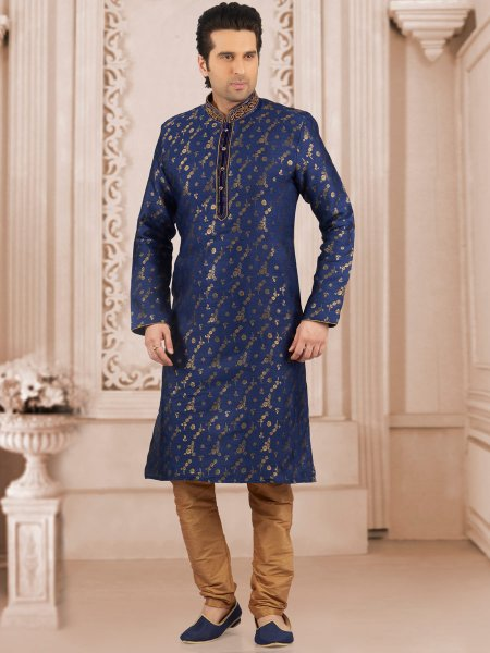 Dark Blue Jacquard And Brocade Silk Embroidered Festival Kurta