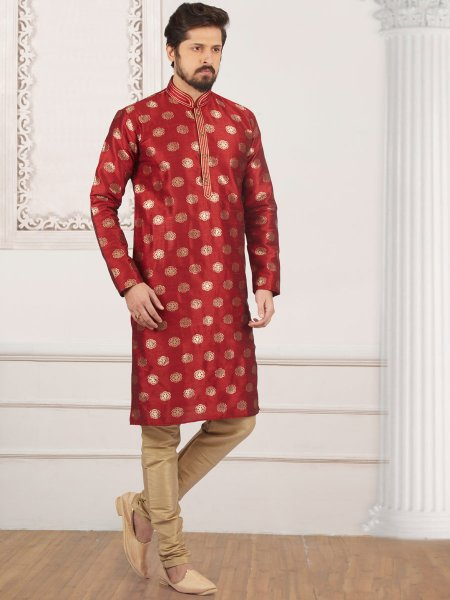 Maroon Jacquard And Brocade Silk Embroidered Festival Kurta