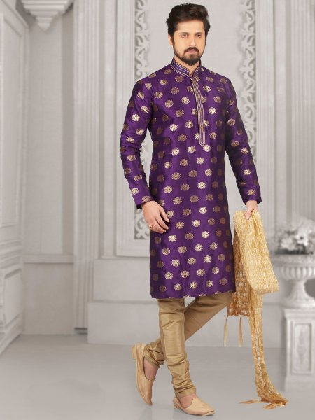 Amethyst Violet Jacquard And Brocade Silk Embroidered Festival Kurta