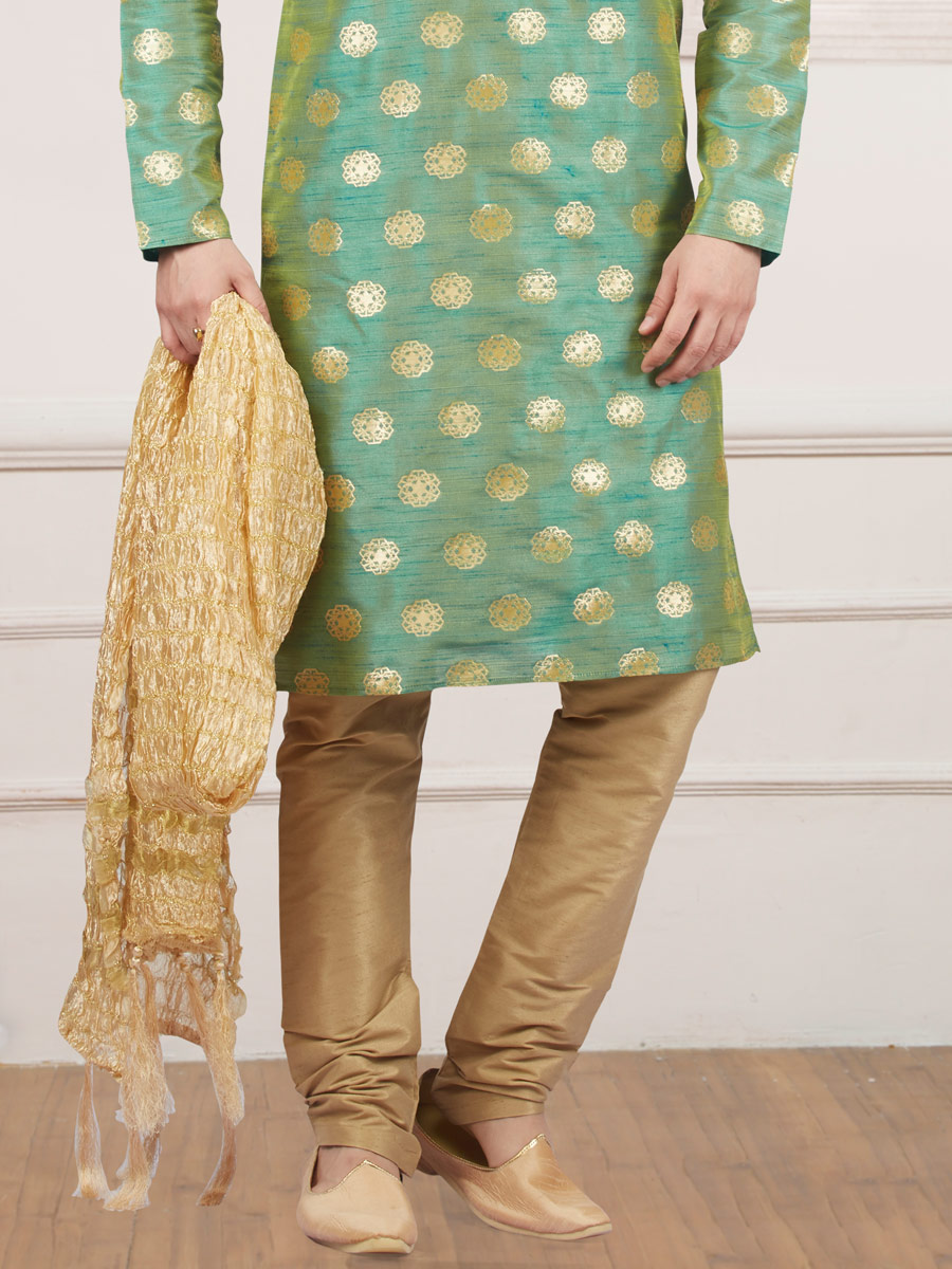 Moss Green Jacquard And Brocade Silk Embroidered Festival Kurta