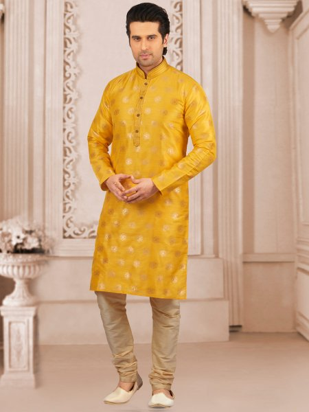 Maize Yellow Jacquard And Brocade Silk Embroidered Festival Kurta