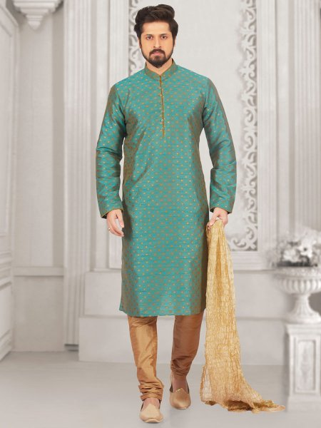 Teal Blue Jacquard And Brocade Silk Embroidered Festival Kurta