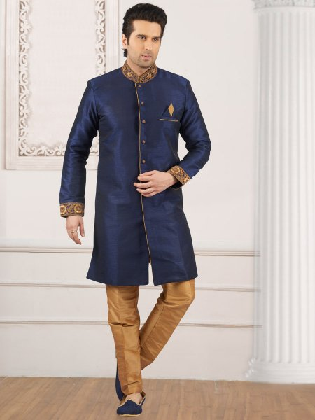 Sapphire Blue Art Banarasi Silk Embroidered Wedding Sherwani