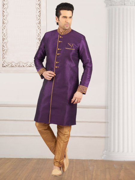 Amethyst Violet Art Banarasi Silk Embroidered Wedding Sherwani