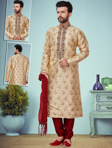 Beige Yellow Jacquard Embroidered Wedding Kurta