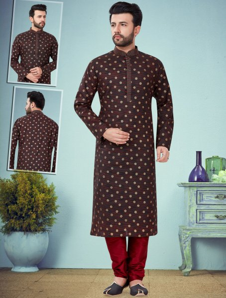 Black and Maroon Cotton Silk Printed Festival Kurta