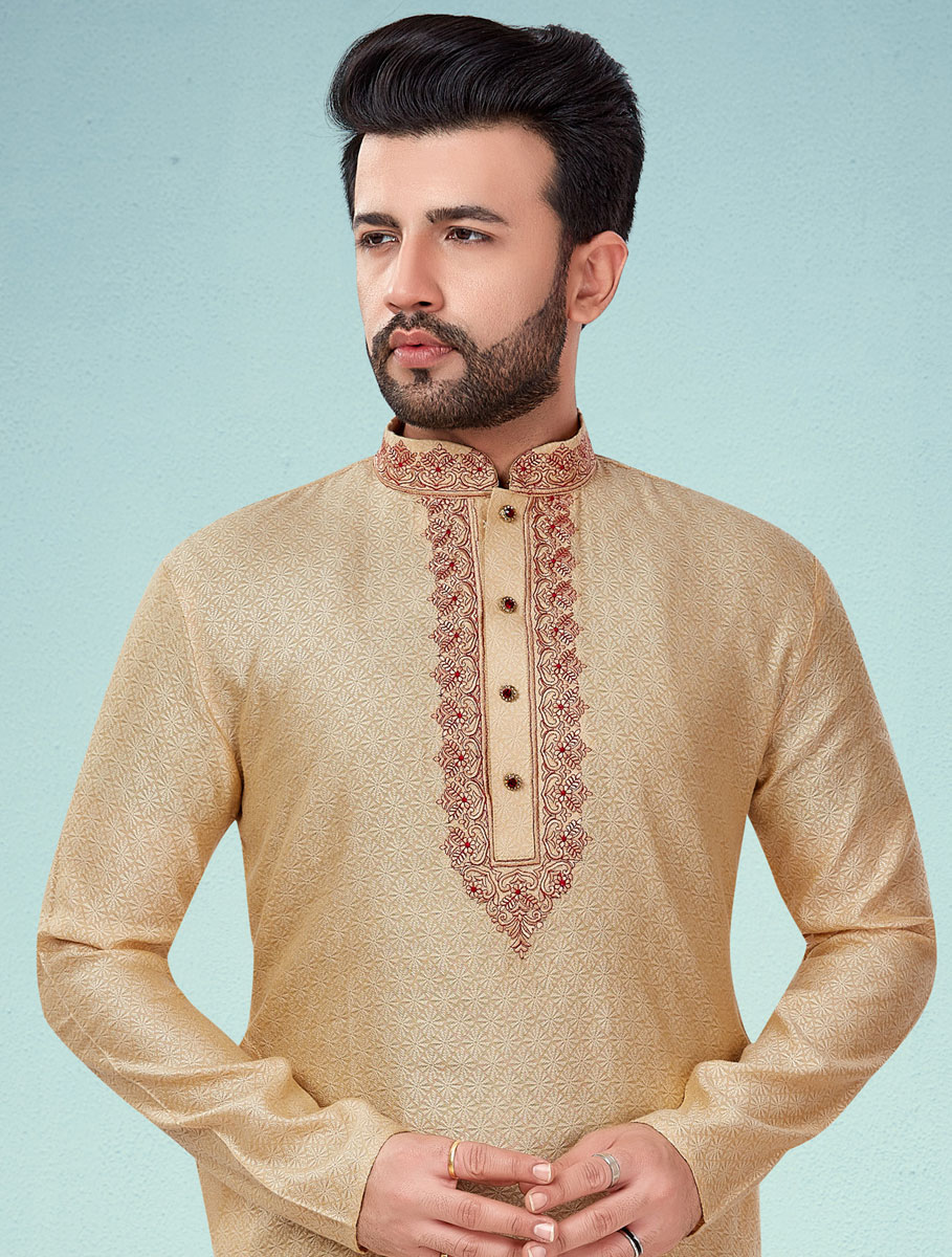 Beige Yellow Cotton Silk Embroidered Wedding Kurta