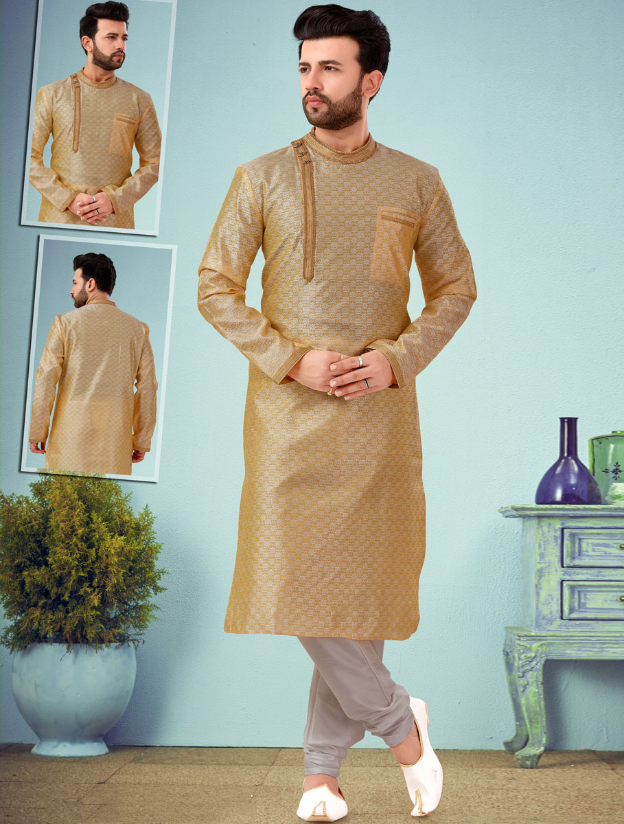 Beige Yellow Dupion Silk and Jacquard Handwoven Festival Kurta