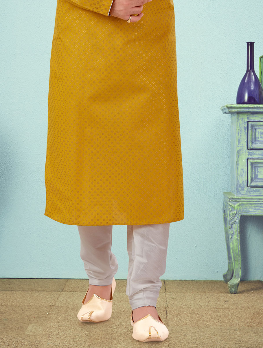 Mustard Yellow Cotton Silk Handwoven Festival Kurta