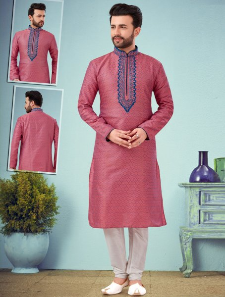 Brink Pink Dupion Silk and Jacquard Embroidered Wedding Kurta