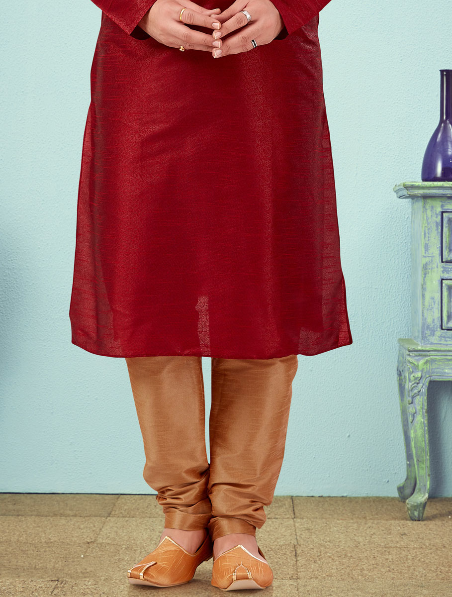 Maroon Silk Embroidered Wedding Kurta