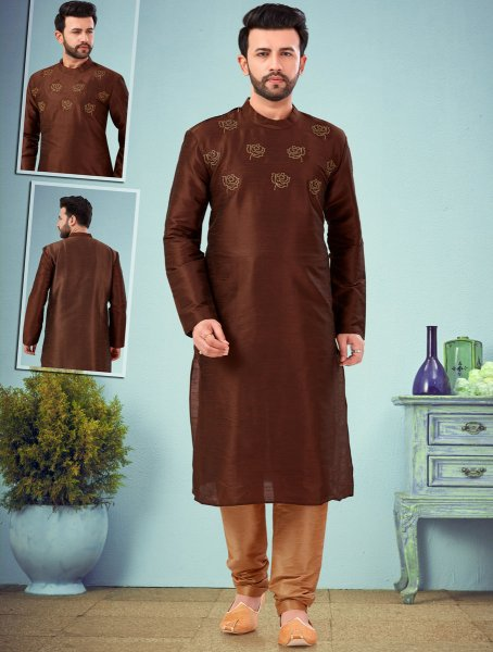 Auburn Brown Dupion Silk Embroidered Wedding Kurta