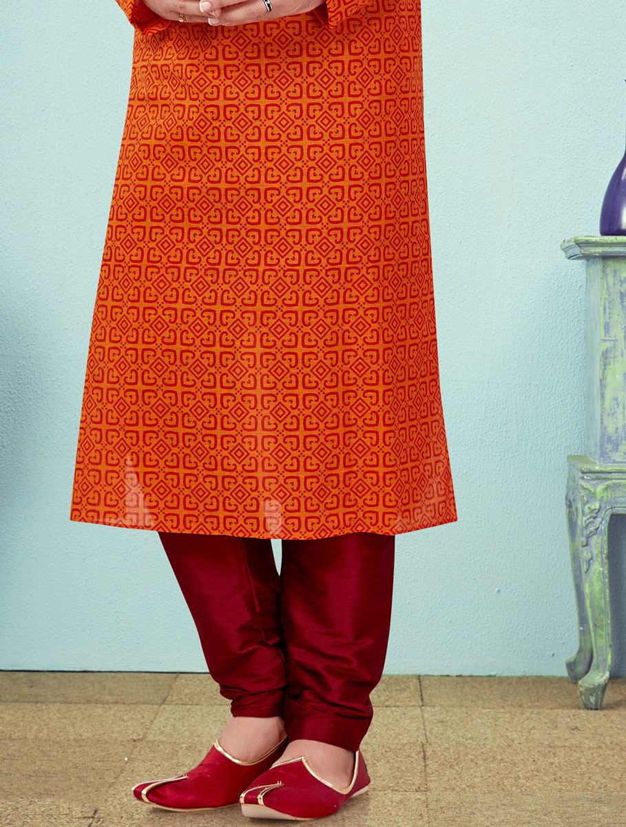 Portland Orange Cotton Printed Festival Kurta