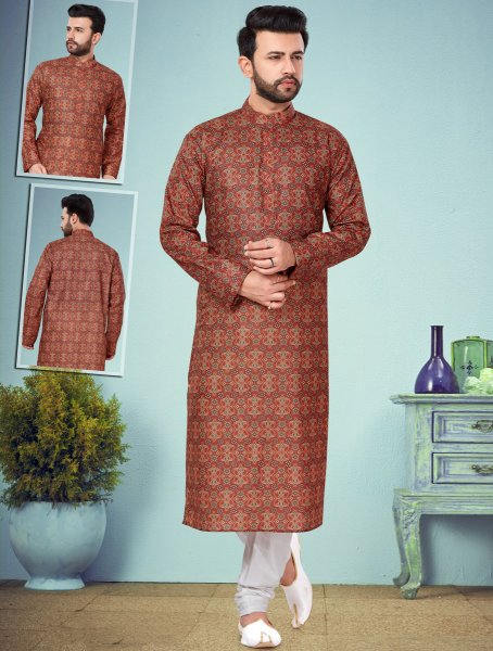 Burnt Orange Cotton Silk Printed Festival Kurta