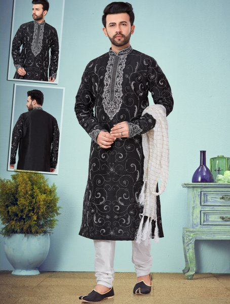 Black Dupion Silk Embroidered Wedding Kurta