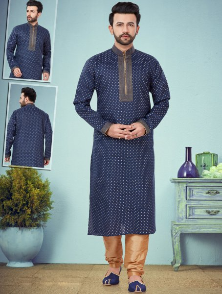 Navy Blue Cotton Silk Printed Festival Kurta
