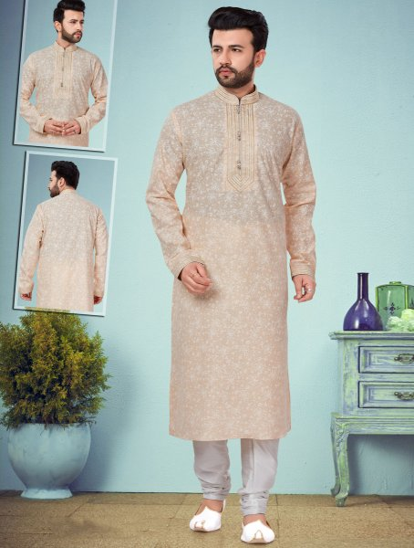 Light Coral Pink Cotton Silk Printed Festival Kurta