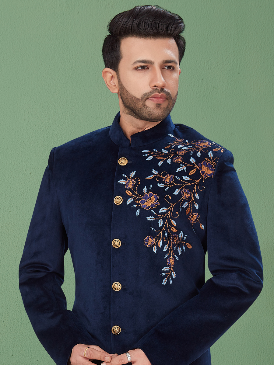 Navy Blue Velvet Embroidered Festival Sherwani