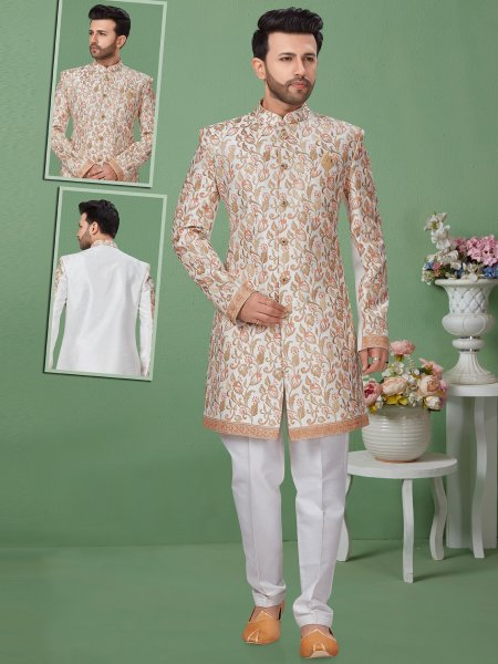Off-White Dupion Silk Embroidered Festival Sherwani