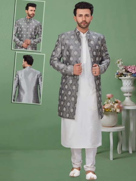 Gray Dupion Silk Embroidered Festival Sherwani with Kurta
