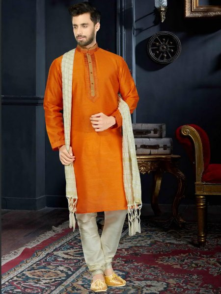 Mustard Yellow Art Dupion Silk Festival Embroidered Kurta