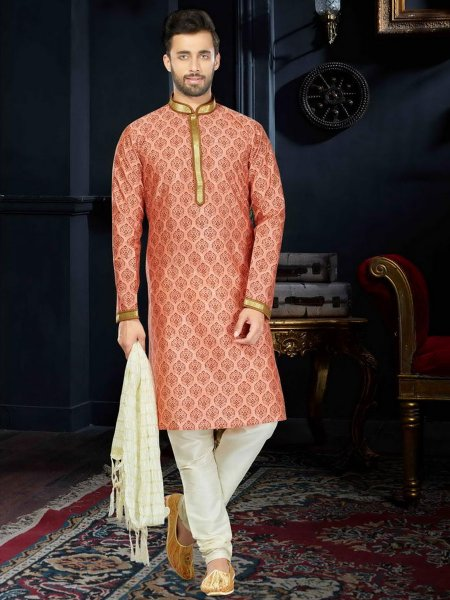Coral Orange Cotton Festival Printed Kurta