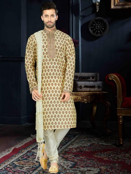 Cream Yellow Cotton Festival Printed Kurta