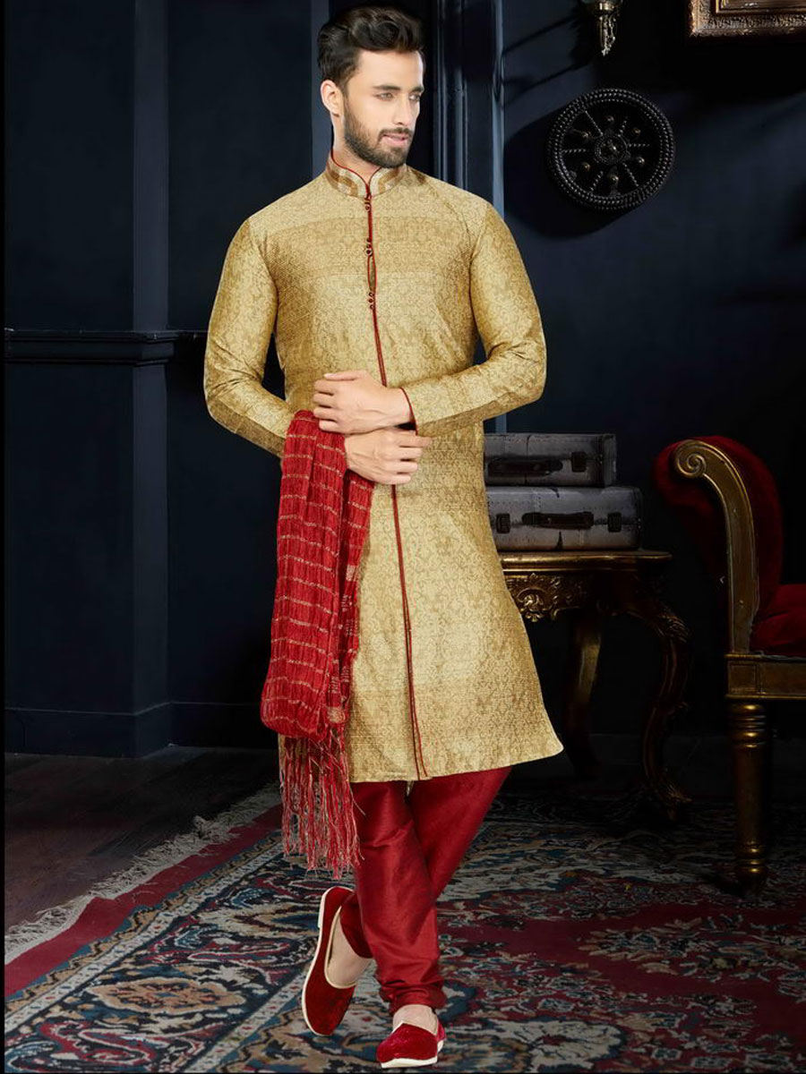 Goldenrod Yellow Jacquard Festival Embroidered Kurta
