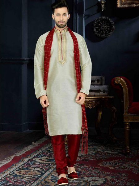 Lemon Yellow Art Dupion Silk Festival Embroidered Kurta
