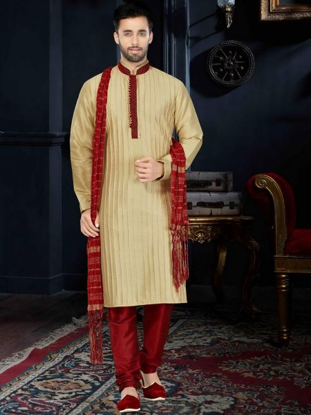 Golden Yellow Art Dupion Silk Festival Embroidered Kurta