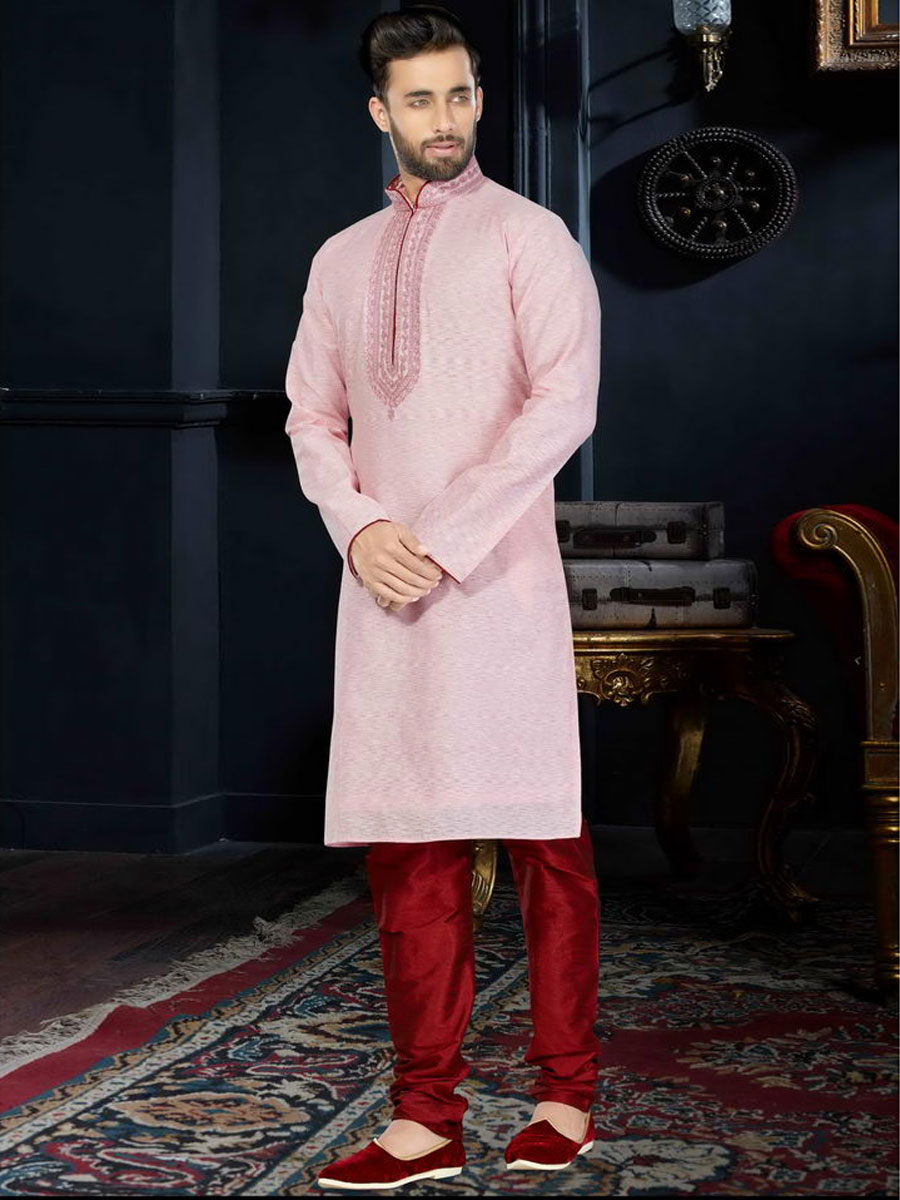 Persian Pink Cotton Silk Festival Embroidered Kurta