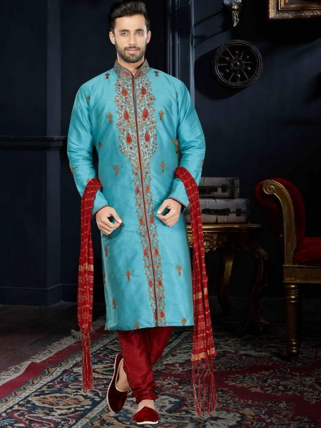 Deep Sky Blue Art Dupion Silk Festival Embroidered Kurta