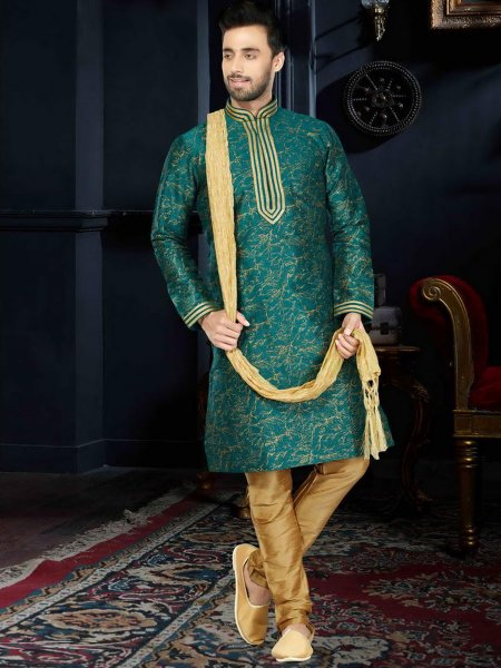 Jungle Green Cotton Silk Festival Embroidered Kurta