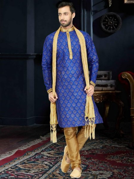 Royal Blue Art Dupion Silk Festival Printed Kurta