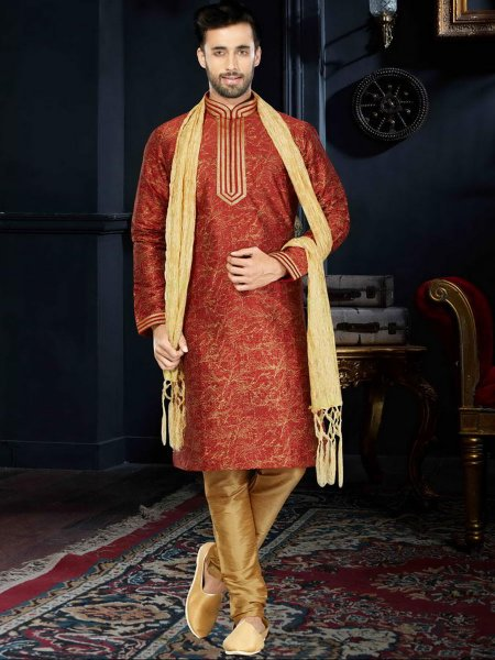 Maroon Cotton Silk Festival Embroidered Kurta