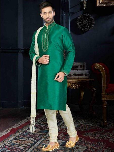Jungle Green Art Dupion Silk Festival Embroidered Kurta