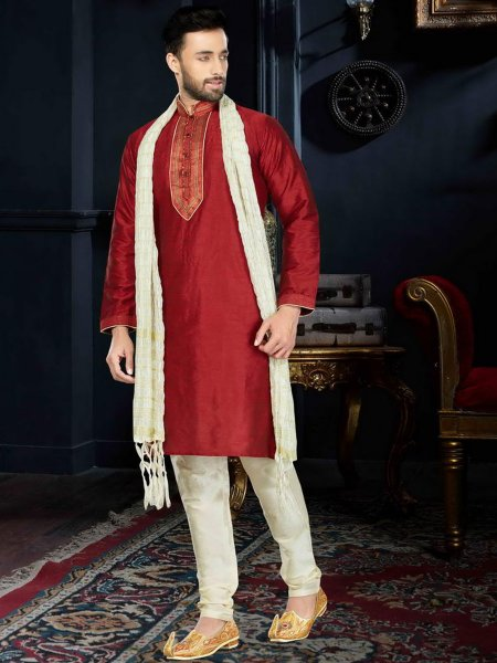 Maroon Art Dupion Silk Festival Embroidered Kurta