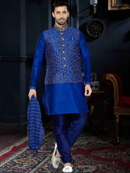 Royal Blue Art Dupion Silk Festival Embroidered Kurta