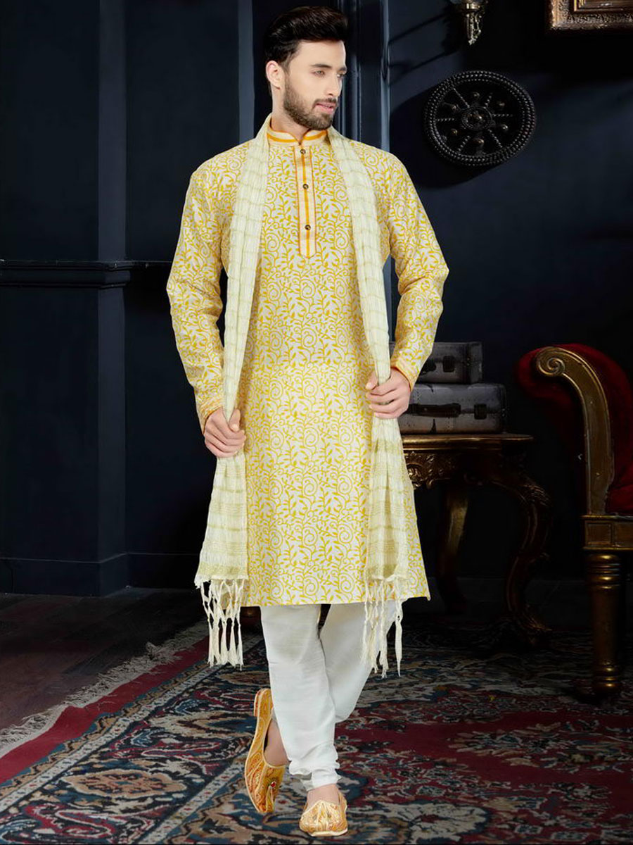 Amber Orange Art Dupion Silk Festival Printed Kurta