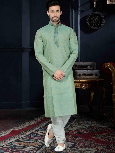 Persian Green Cotton Silk Festival Embroidered Kurta