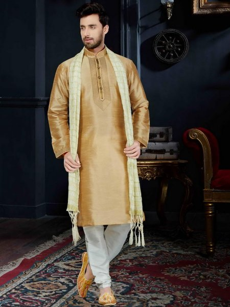 Peach Yellow Art Dupion Silk Festival Embroidered Kurta