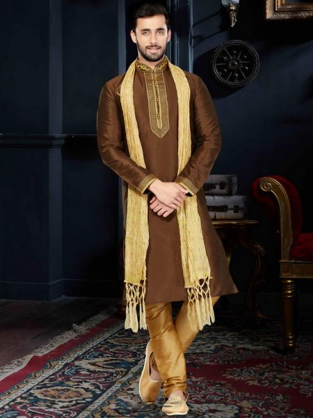 Auburn Brown Art Dupion Silk Festival Embroidered Kurta