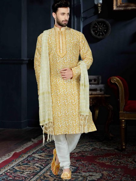 Old Gold Yellow Art Dupion Silk Festival Embroidered Kurta