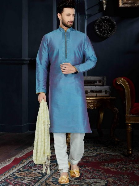 Duke Blue Art Dupion Silk Festival Embroidered Kurta