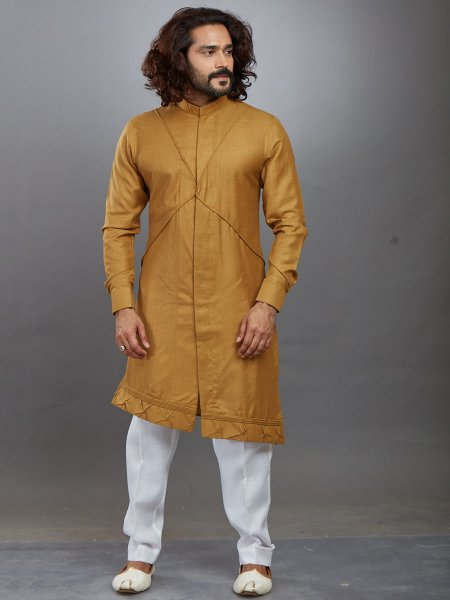 Dark Goldenrod Yellow Cotton Plain Festival Kurta