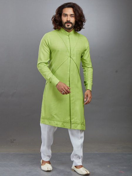 Yellow-Green Cotton Plain Festival Kurta