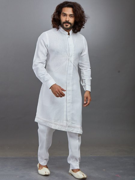 Off-White Cotton Plain Festival Kurta