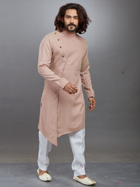 Tea Rose Pink Rayon Cotton Plain Festival Kurta