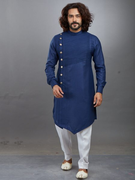 Navy Blue Cotton Plain Festival Kurta