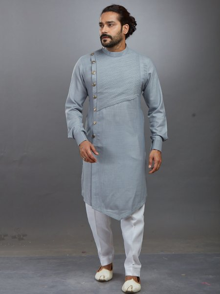 Gray Cotton Plain Festival Kurta